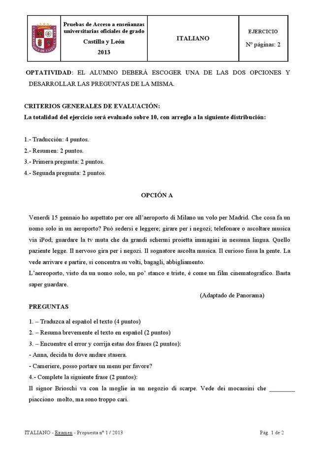 examen en italiano