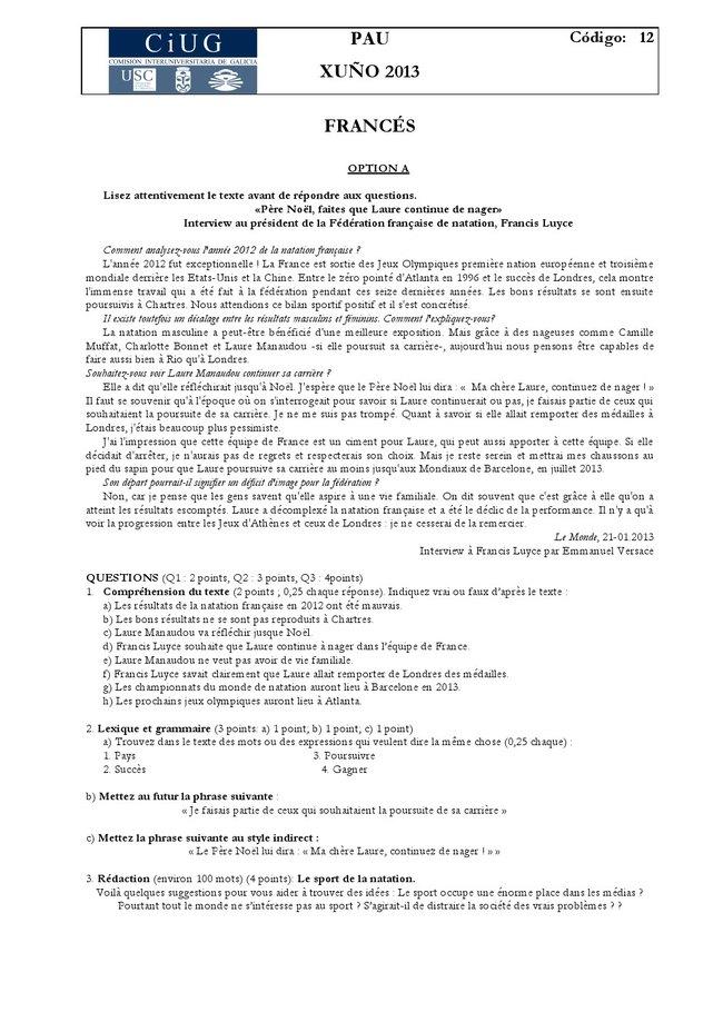 Examen De Selectividad Francés Galicia Convocatoria Junio