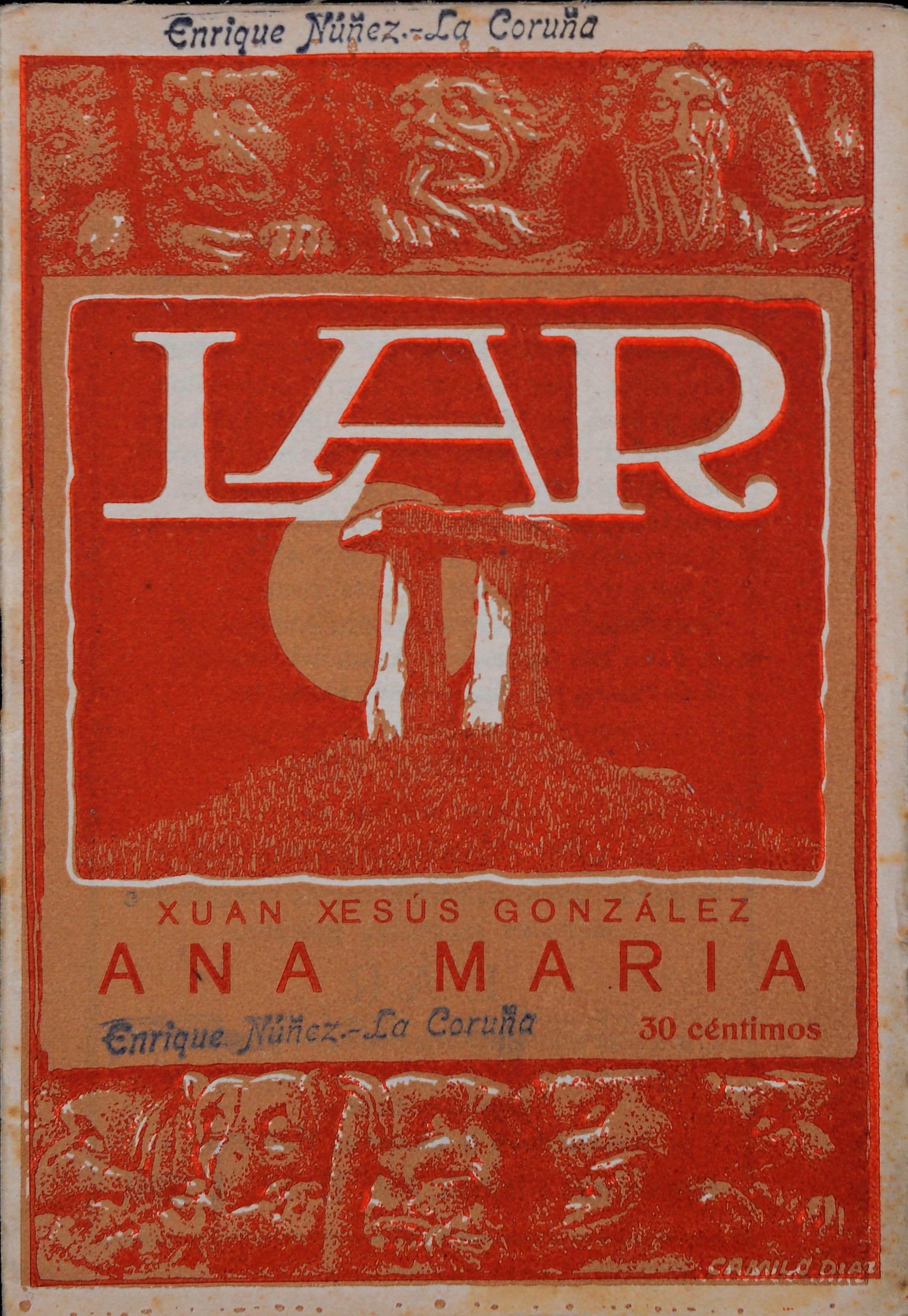 Portada de la revista Lar en color rojo. En el centro tiene un dibujo de un dolmen en una colina. La parte superior y la parte inferior están decoradas con gárgolas
