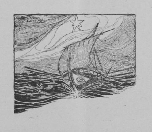 Dibujo de un barco en el mar