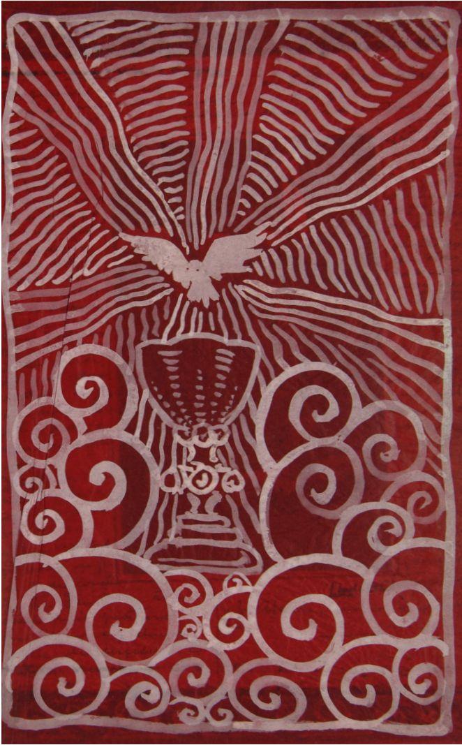 Dibujo de un ave sobrevolando un cáliz