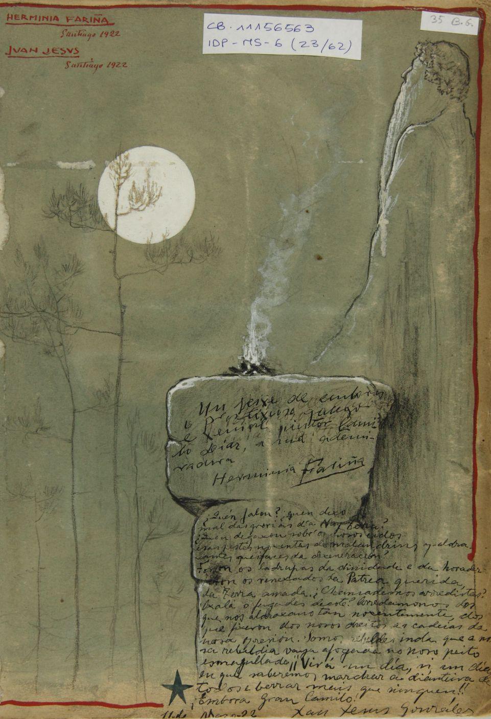 Dibujo de un anciano con barba larga observando la luna