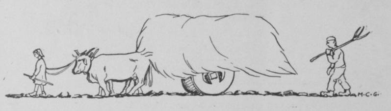 Dibujo de dos trabajadores transportando paja en un carro tirado por un buey