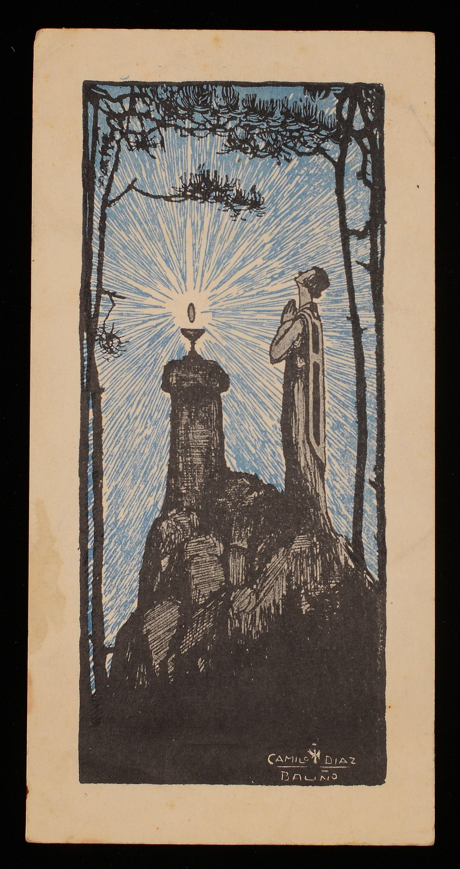 Dibujo de un hombre con túnica rezando en la montaña