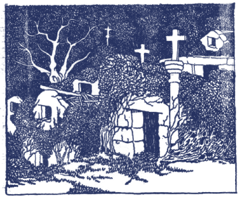Dibujo de unas casas con vegetación y cruces