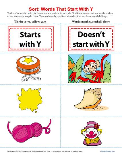 Consonant Sort: Words That Start With Y