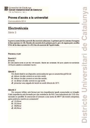 Examen de Selectividad: Electrotecnia. Cataluña. Convocatoria Junio 2014