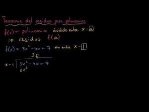 Teorema del residuo para división de polinomios (Khan Academy)