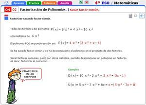 Sacar factor común. Matemáticas para 4º de Secundaria