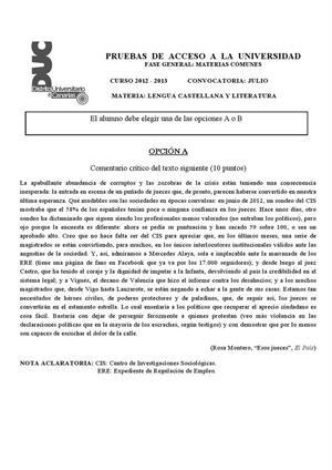 Examen de Selectividad: Lengua castellana y su Literatura. Canarias. Convocatoria Julio 2013