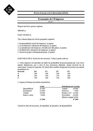 Examen de Selectividad: Economía. Islas Baleares. Convocatoria Junio 2013