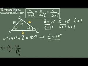 Ley de senos ejemplo 1 (conocidos dos ángulos y un lado) (Tareas Plus)