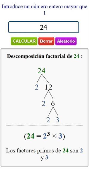 Calculadora de Descomposición Factorial de números - Factores primos