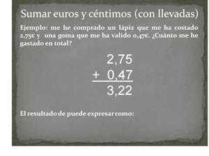 Sumar y restar euros y céntimos