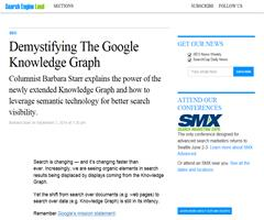 Demystifying The Google Knowledge Graph. Barbara Starr