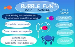 Bubble fun math practice (sheppardsoftware.com)