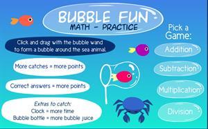 Bubble fun math practice (sheppardsoftware.com)