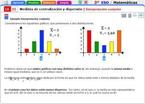 Interpretación conjunta de medidas de centralización y dispersión. Matemáticas para 3º de Secundaria
