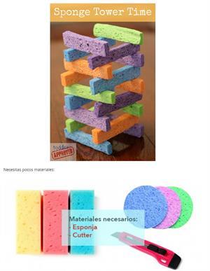 Torres con esponjas. Aprendiendo Matemáticas