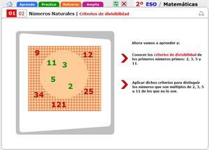 Criterios de divisibilidad. Matemáticas para 2º de Secundaria