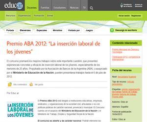 """Premio ABA 2012: """"La inserción laboral de los jóvenes"""""""