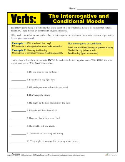 Verbs: The Interrogative and Conditional Moods