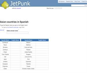 Asian countries in Spanish