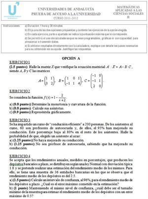 Examen de Selectividad: Matemáticas aplicadas 2. Andalucía. Convocatoria Junio 2012