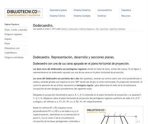 Dodecaedro. Representación, desarrollo y secciones planas.