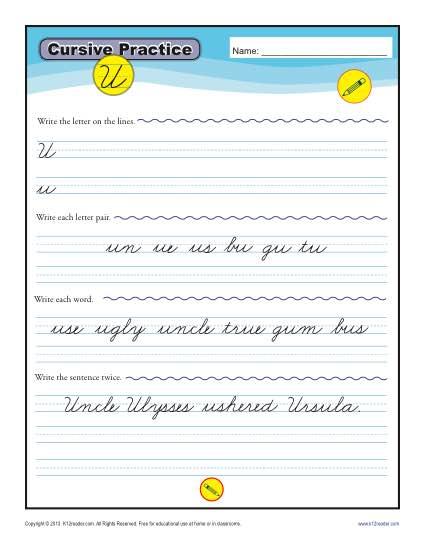 Cursive U – Letter U Worksheet