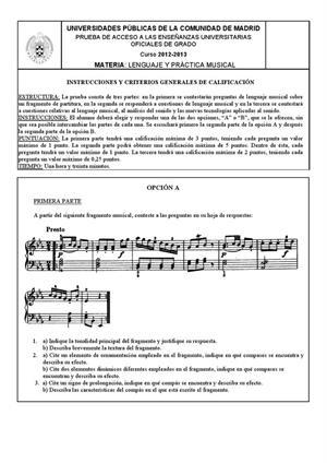 Examen de Selectividad: Lenguaje y práctica musical. Madrid. Convocatoria Septiembre 2013