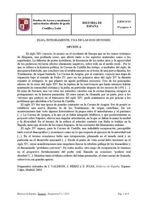 Examen de Selectividad: Historia de España. Castilla y León. Convocatoria Junio 2013