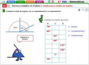 Clasificación y medida de ángulos. Matemáticas para 1º de Secundaria