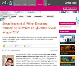 """Sileoni inauguró el """"Primer Encuentro Nacional de Referentes de Educación Sexual Integral 2012"""""""