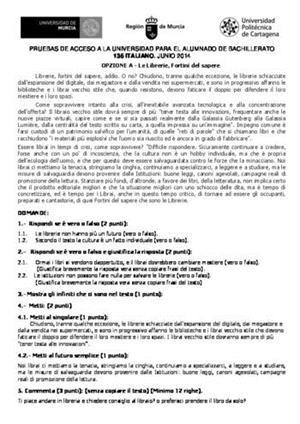 Examen de Selectividad: Italiano. Murcia. Convocatoria Junio 2014