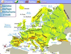 Mapas físicos y políticos de Europa (e-junior.net)