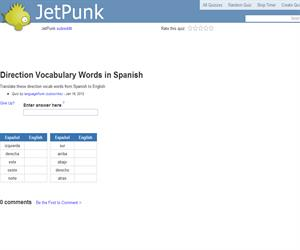 Direction Vocabulary Words in Spanish