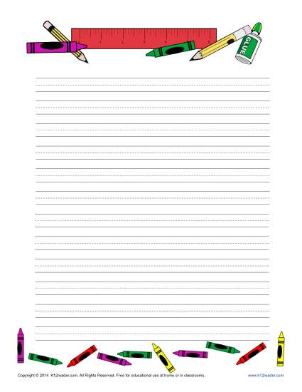 School Themed Lined Writing Paper