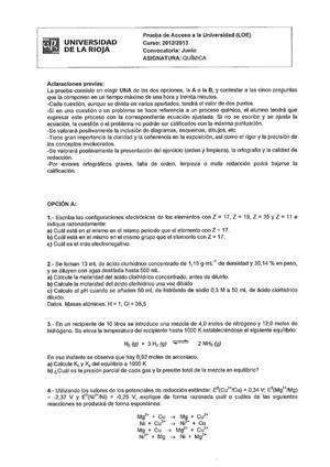 Examen de Selectividad: Química. La Rioja. Convocatoria Junio 2013