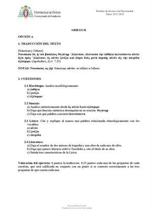 Examen de Selectividad: Griego. Asturias. Convocatoria Julio 2013