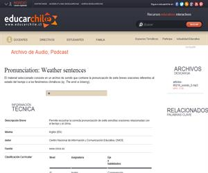 Pronunciation: Weather sentences (Educarchile)