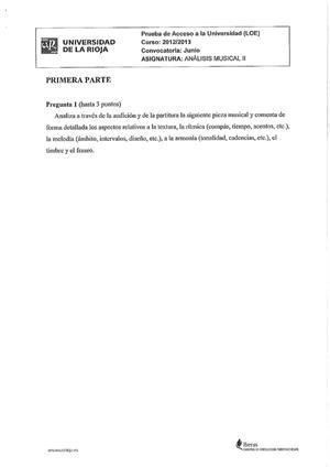 Examen de Selectividad: Análisis musical. La Rioja. Convocatoria Junio 2013