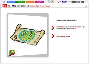 Elementos de un mapa. Matemáticas para 2º de Secundaria