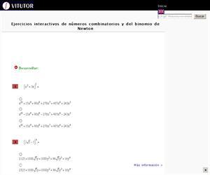 Ejercicios interactivos de números combinatorios y del binomio de Newton (Vitutor)
