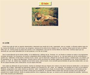El león, lectura comprensiva interactiva