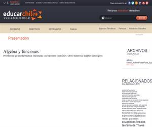 Álgebra y funciones (Educarchile)