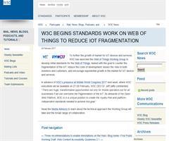 W3C comienza a trabajar en estándares de Web de las cosas (WoT) para reducir la fragmentación de la Internet de las Cosas (IoT)