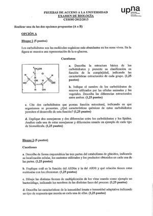 Examen de Selectividad: Biología. Navarra. Convocatoria Julio 2013
