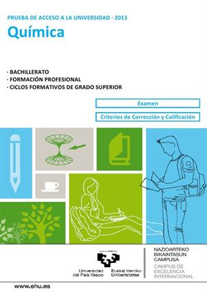 Examen de Selectividad: Química. País Vasco. Convocatoria Junio 2013