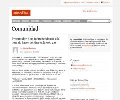 """Prosumidor: """"Una fuerte tendencia a la hora de hacer politica en la web 2.0"""". artepolitica.com, 1 septiembre de 2009;Alexis Maidana"""